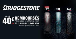 Bridgestone 2 pneus achetés, 40 € remboursés.