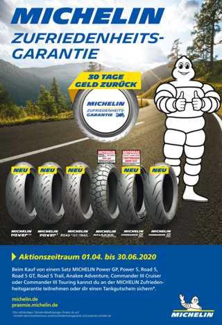 Zufriedenheitsgarantie für Motorradreifen von Michelin