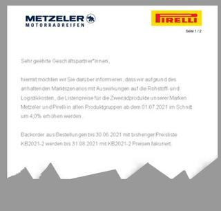 Pirelli and Metzeler is increasing motorcycle tire prices